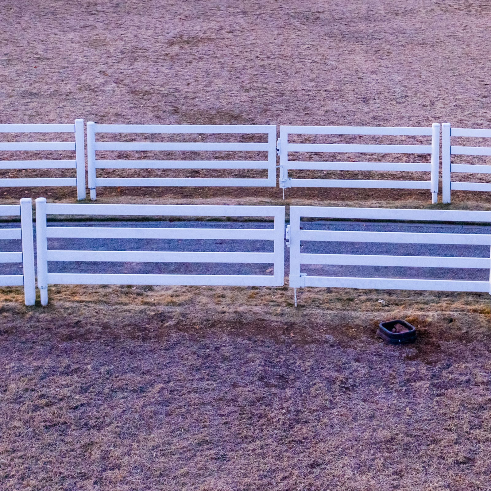 Two rows of White Buckley Fence.