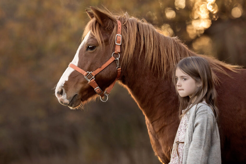 Young girl's gentle playmate- Stock and Noble