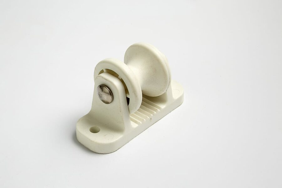 Roller Post Insulator White Sideview - Stock and Noble