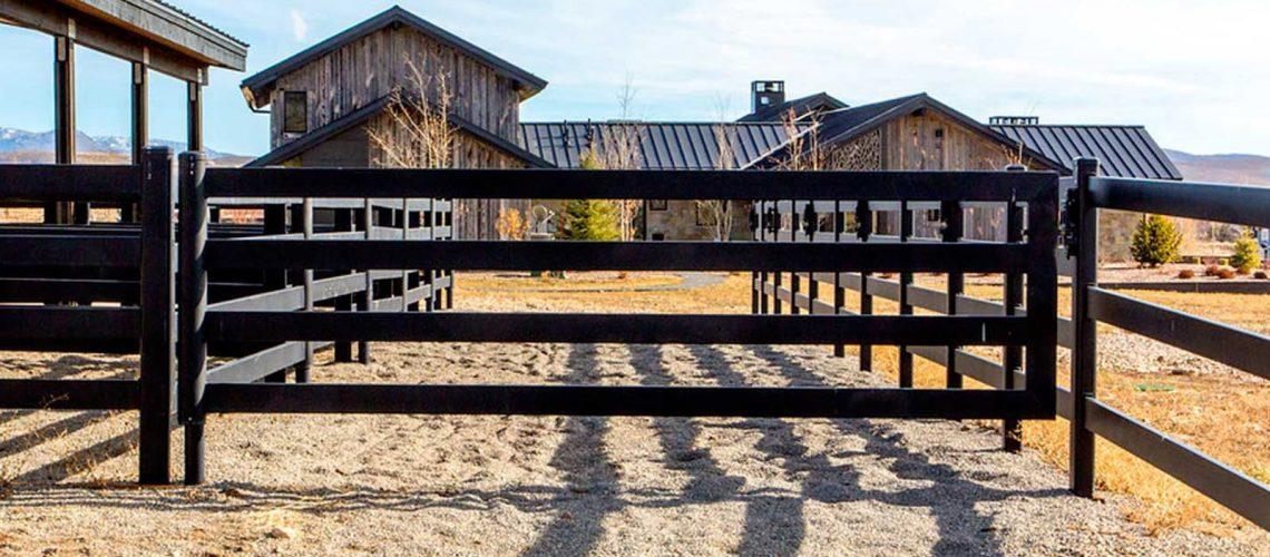 Steel board gates pictured in farm